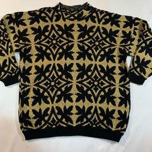 Vintage 1980s Sweater Gold Metallic Oversized